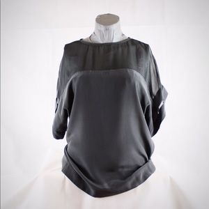 W by Worth Silk Gray Blouse with Sheer Shoulders